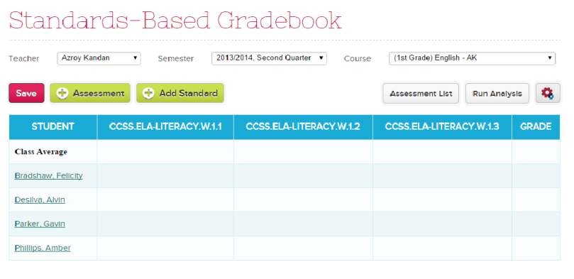 Standards-Based Gradebook with New Standards
