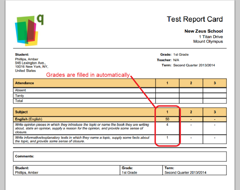 Report Cards with Assessments from the Standards-Based Gradebook