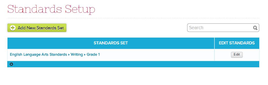 Setting up Standards Sets