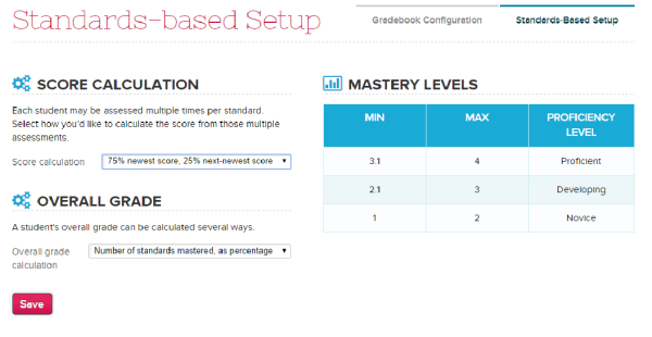 Configuring the Standards-Based Gradebook