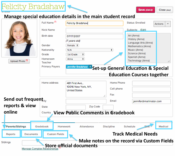 The Students module can store tons of information - here are a few of the ways in which to use it for Special Education