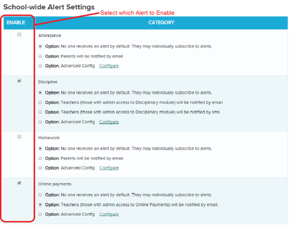 Enable Alerts for your users in QuickSchools (Private Beta)