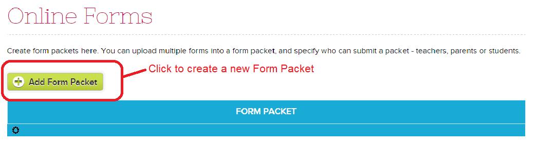 QuickSchools Online Forms List