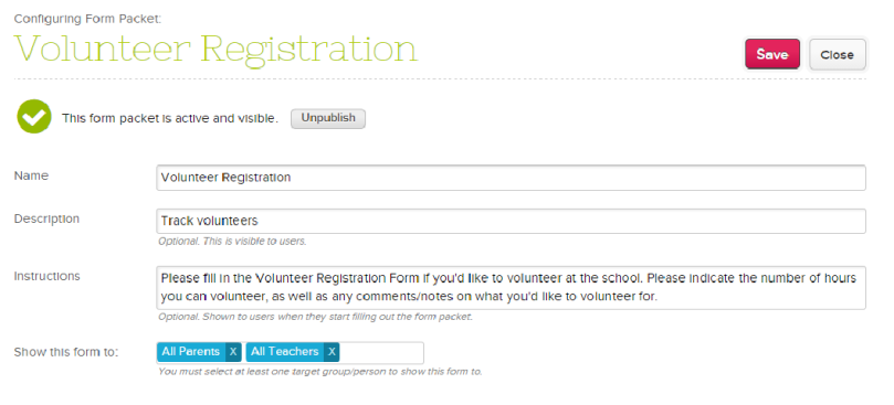 Published Online Form
