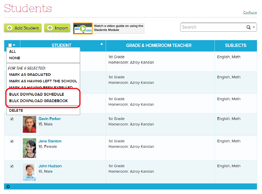 Bulk Download Gradebook and Schedule