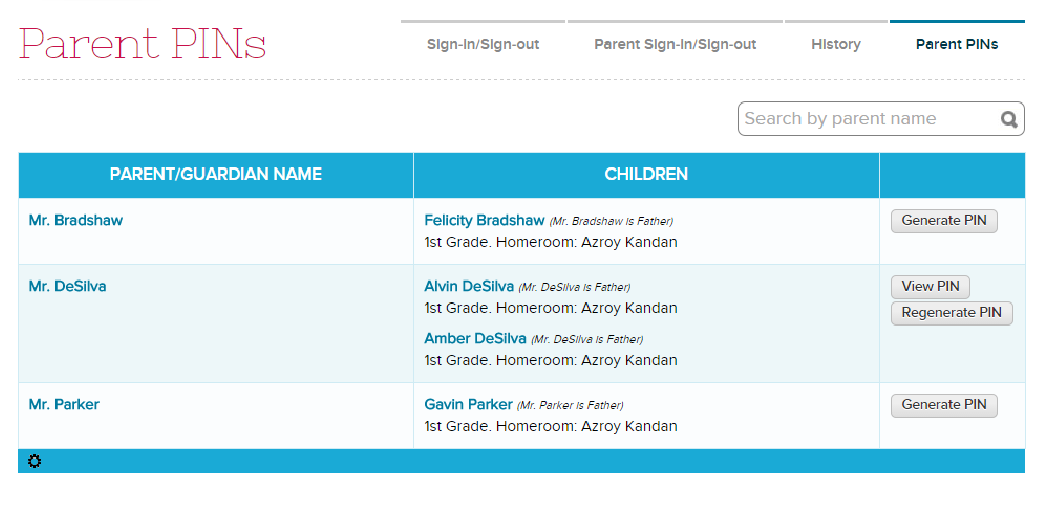Manage PIN for Parents Signing in Students