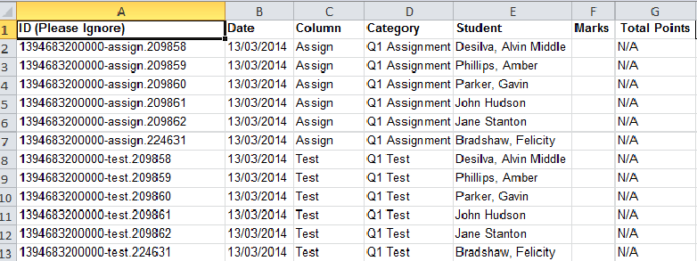 Sample Gradebook Excel File