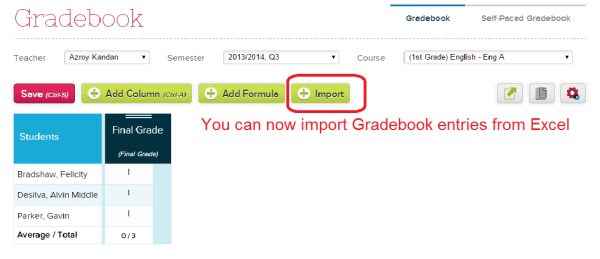 Importing Gradebook Data from Excel