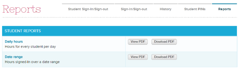 Generate Reports on Students Signing In and Out