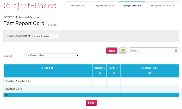 Mass Update in Subject-Based Report Cards