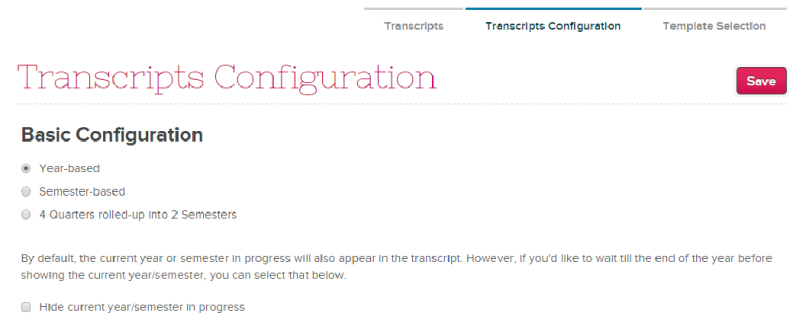 Transcripts Configuration