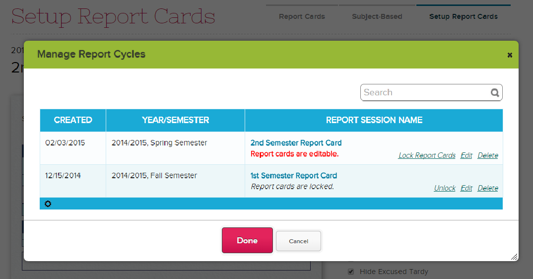 Manage Report Cards to Lock / Unlock Report Cards
