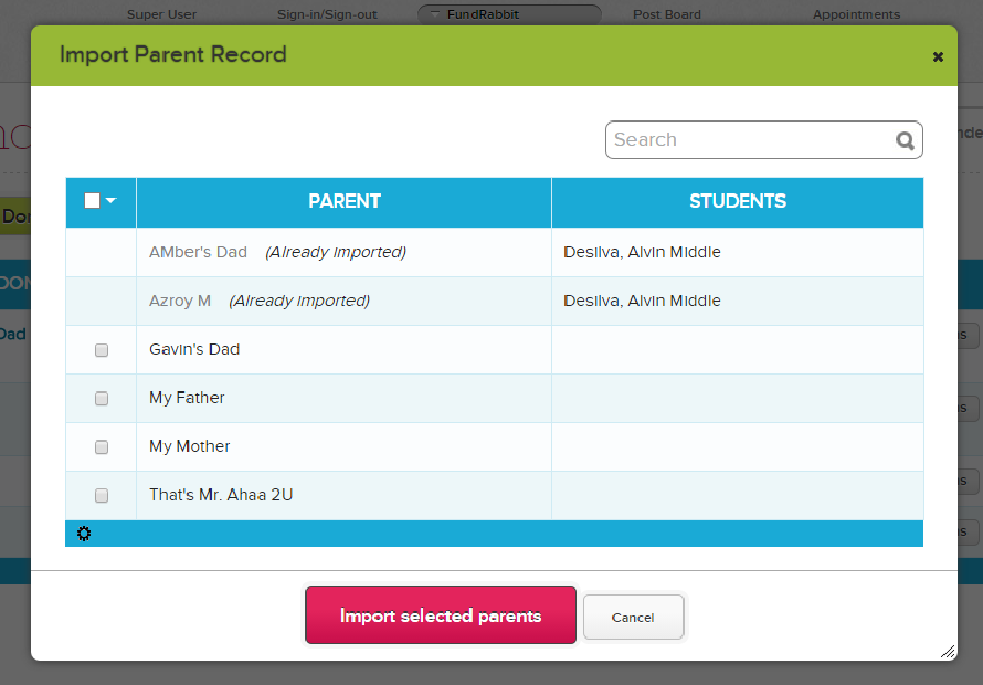 Select Parent Records to Import as Donors