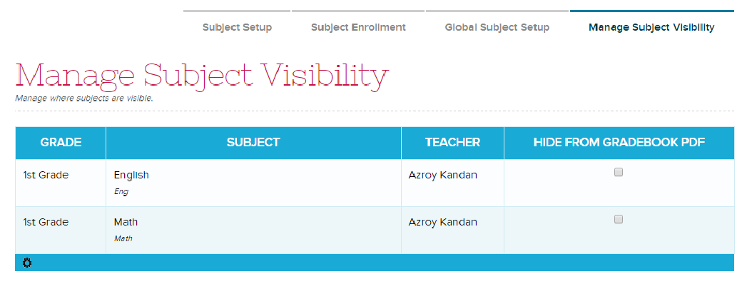 Manage Subject Visibility