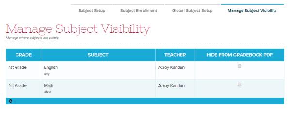 Manage Subject Visibility