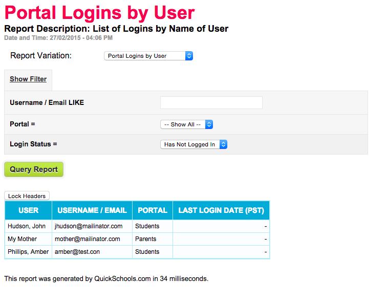 Portal Logins / Usernames Report