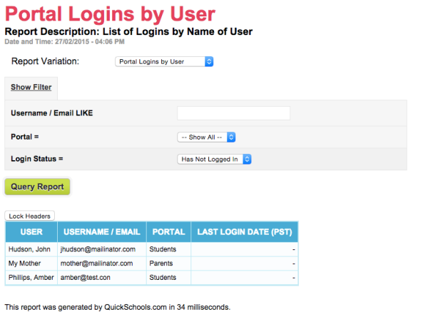 Portal Logins / Usernames Report