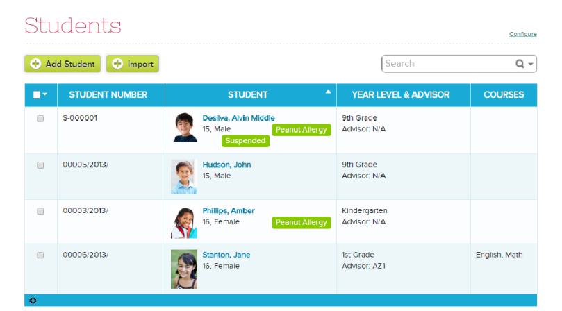 Student Listing with searchable Tags