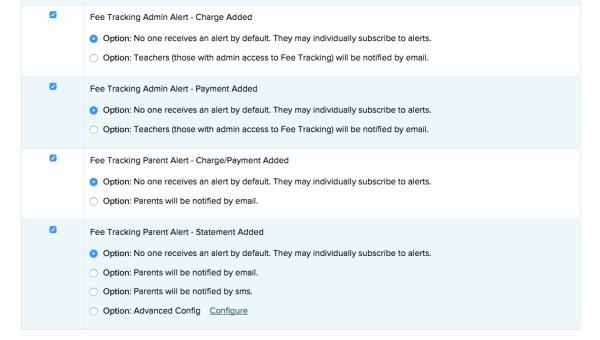 QuickSchools Fee Tracking Alerts