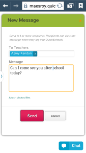 QuickSchools Private Messaging on Mobile Device