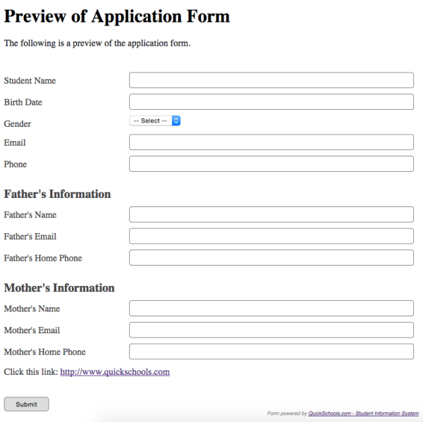 Custom Online Application Form for Admissions