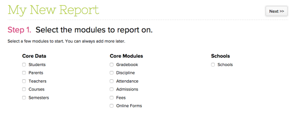 Available Modules on Report Creator
