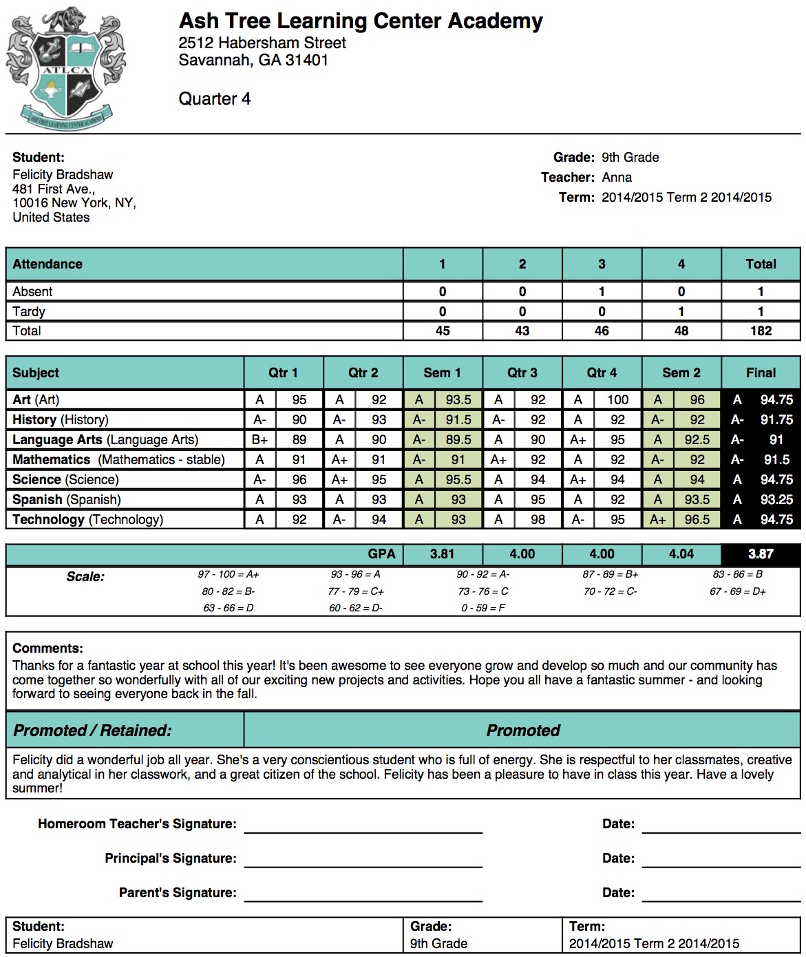 Ash tree learning center academy report card template for Free report card template