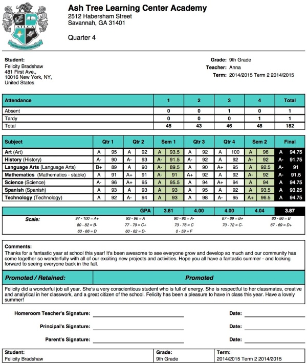 Ash tree learning center academy report card template school management student information for Homeschool high school report card