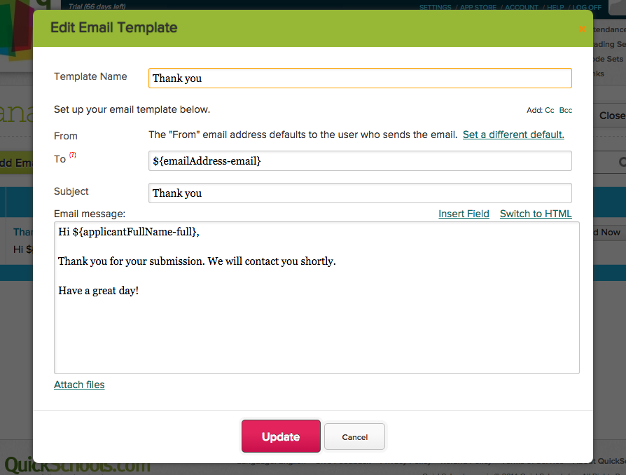 Editing Email Template in QuickSchools