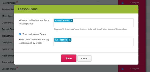 Configure Lesson Plans with Dates