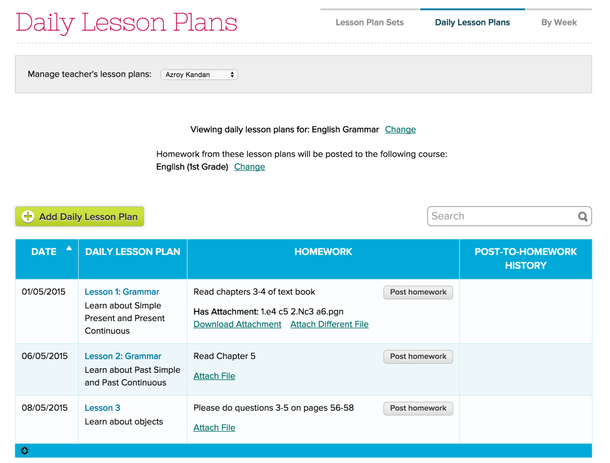 Lesson Plans with Dates
