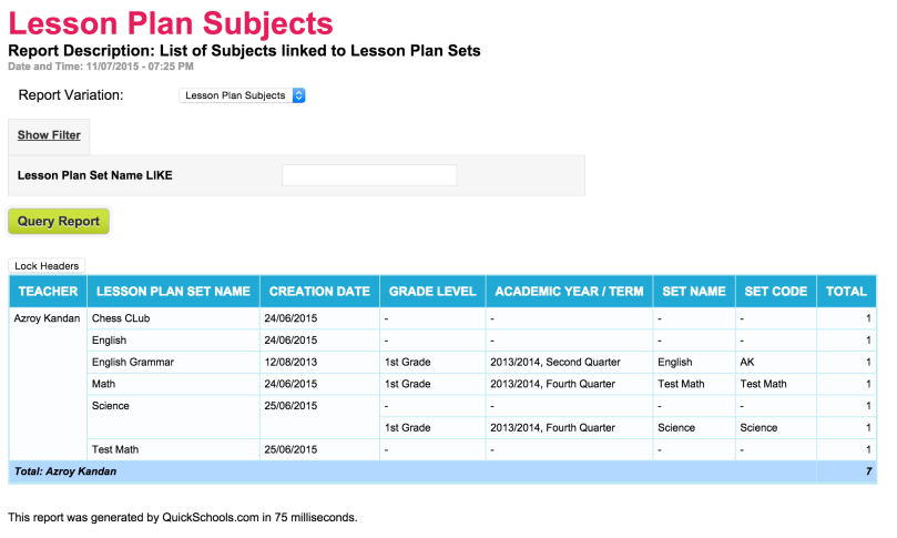 Lesson Plan Subjects Report