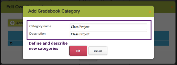 "Click ""Add New Grading Category"" to create new, or click on an already-existing category to edit the name and description."