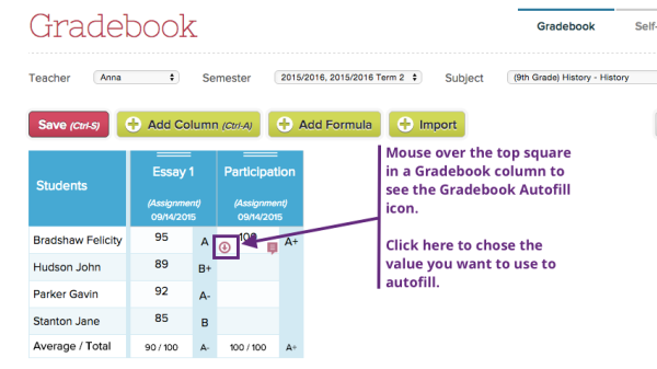 Gradebook autofill is available in the first row of any Gradebook column