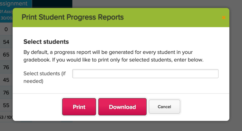 Gradebook: Print Student Progress Reports