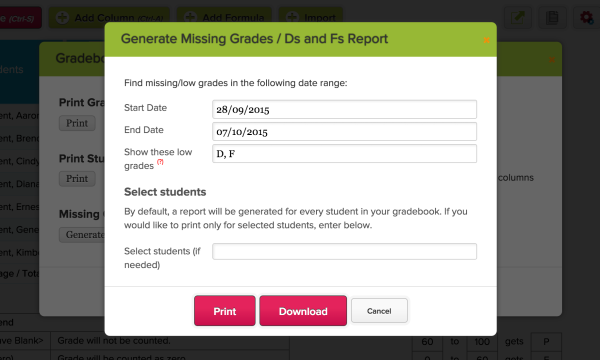 Gradebook: Missing Grades / Ds and Fs Report