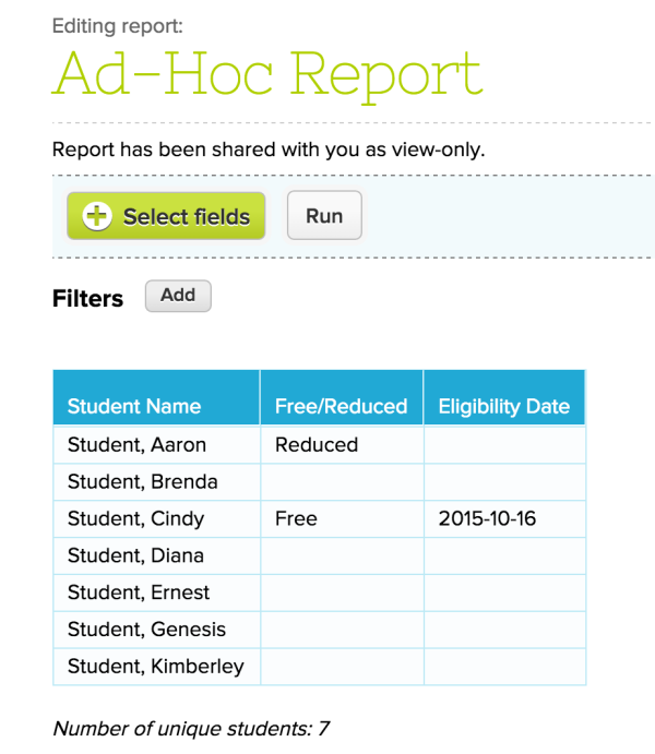 Free / Reduced Lunch Reports on Report Creator App