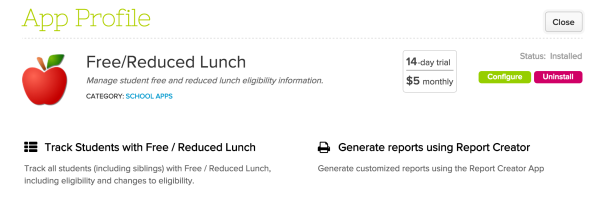 Free / Reduced Lunch App on QuickSchools