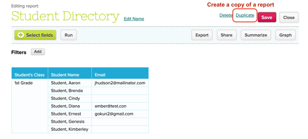 Create a Copy/Duplicate in the Report Creator