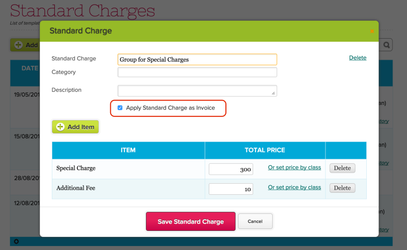 Apply a Standard Charge as Invoice