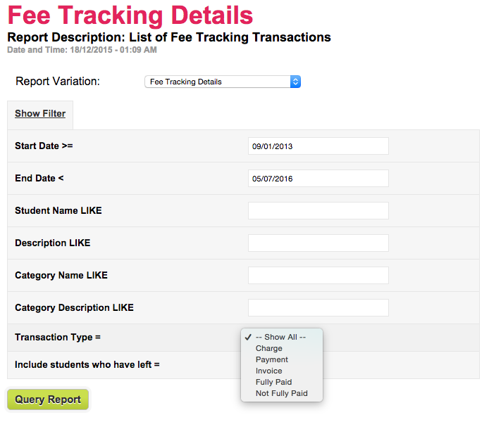 "New Filter in ""Fees Tracking Transactions"" report to identify Paid and Unpaid Charges/Invoices"