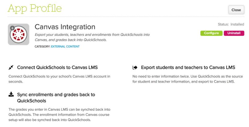 QuickSchools Canvas Integration App