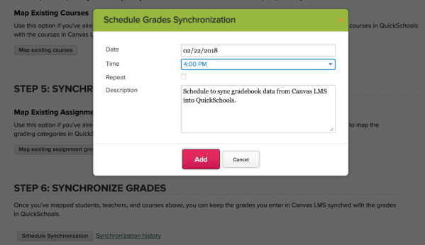 Schedule Gradebook Synchronization with Canvas from QuickSchools