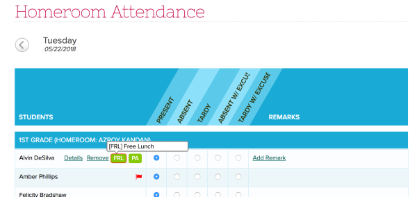 Student Tags on the Attendance Roster
