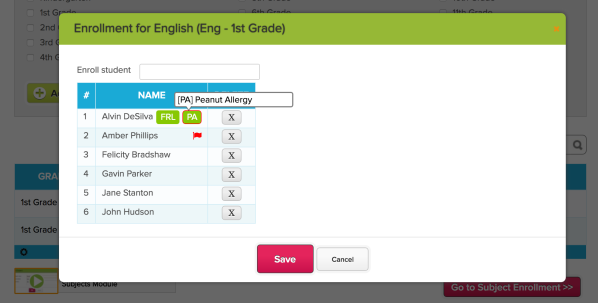 View Student Tags while Enrolling Students into Subjects