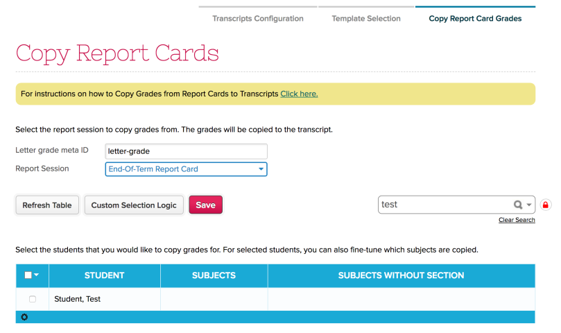 Copy Grades from Report Cards to Transcripts