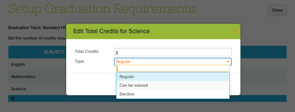 Specify Required Credits for Each Subject Area