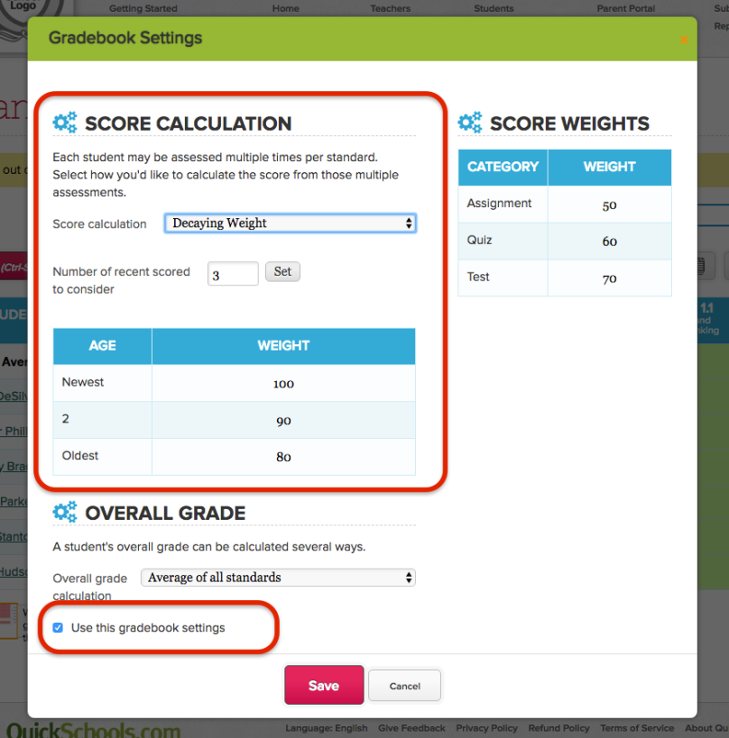 Decaying Weights Scale in Standards-Based Gradebook
