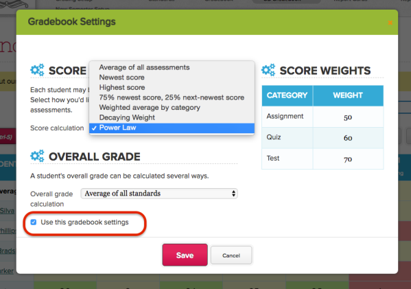 Power Law Scale in Standards Based Gradebook
