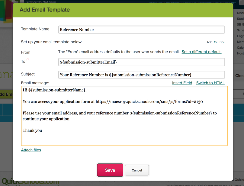 Email Template for Online Forms with Reference Number